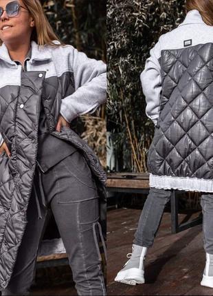 Стильное пальто-куртка женское комбинированное свободный крой ...
