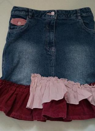 Джинсовая юбка на девочку 10-12 лет