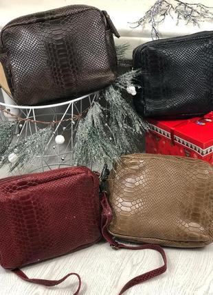 Мягенькие кожаные сумочки-кроссбоди genuine leather италия