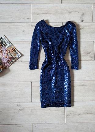 Невероятно красивое нарядное платье короткое в пайетках с откр...