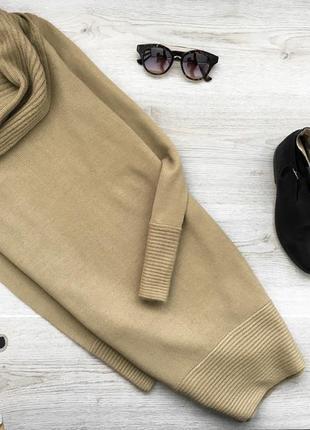 Вязаное горчичное короткое платье/длинный свитер с объёмной го...