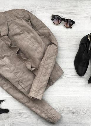 Укороченая куртка с искуственной замшы с оборкой  2xl ici et m...