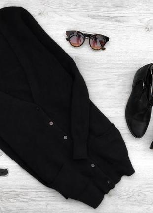 Базовый теплый ангоровый длинный джемпер/свитер на пуговицах