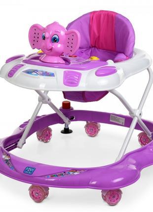 Детские ходунки каталка с силиконовыми колесами для детей «Bam...
