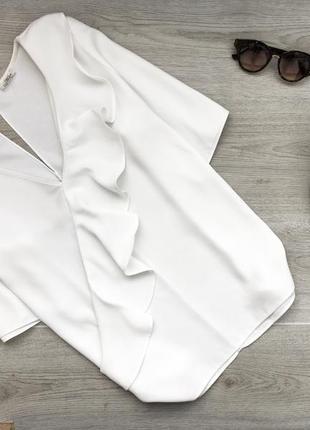 Невероятная блуза/блузка с оборкой 3xl молочного цвета river i...