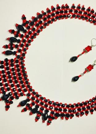 Колье из бисера, красное с серьгами Ручная работа подарок женщине