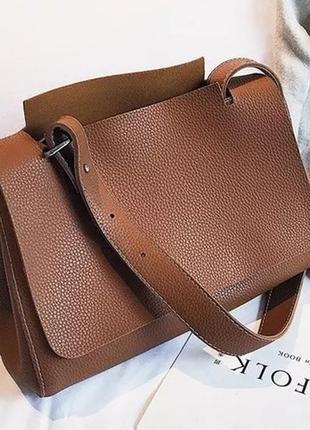 Классная, удобная коричневая сумка среднего размера на длинном ре