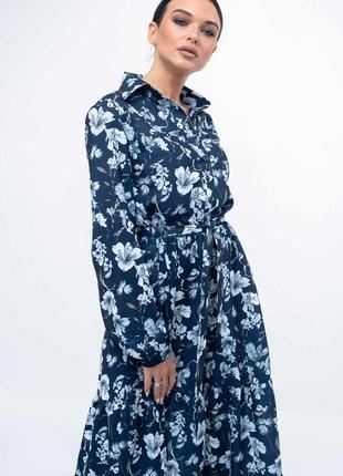 Платье бохо синее в цветочный принт 2020