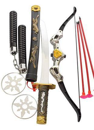 Набор ниндзя 8610 (60шт) лук, стрелы присоски 3шт, меч, нунчак...