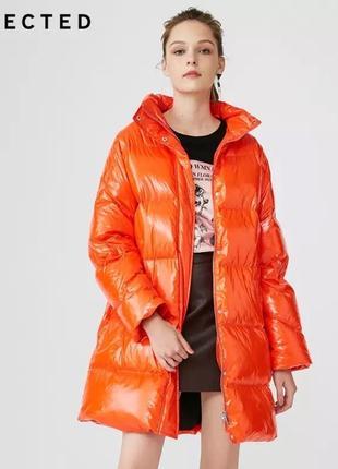 Куртка пуховик пальто оверсайз selected натуральный пух лакова...