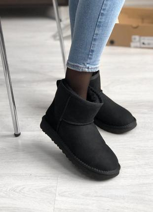 💖ugg classic short black💖угги женские зимние короткие, чёрные ...
