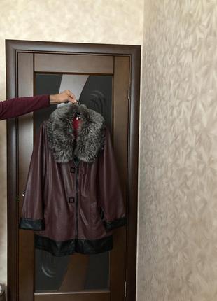 Кожаная удлинённая куртка с натуральной чернобуркой р-р 52-54 наш