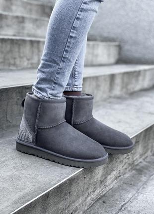 Ugg classic short grey, короткие женские зимние серые угги