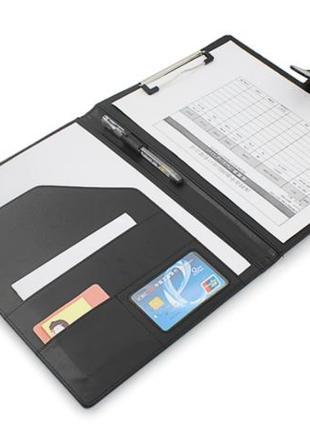 Кожаная папка для документов бумаг с фиксатором черная коричневая