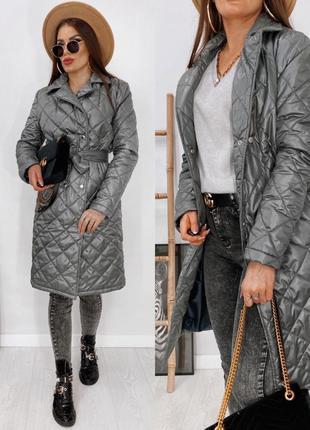 Стильное пальто женское модное стеганное весна-осень на кнопка...
