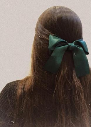 Заколка для волос с бантом, бант на волосы изумрудный