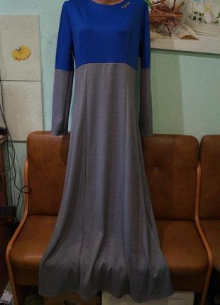 Длинное трикотажное платье р.хл