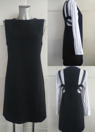 Стильное платье mango с вставками из натуральной кожи на подкл...