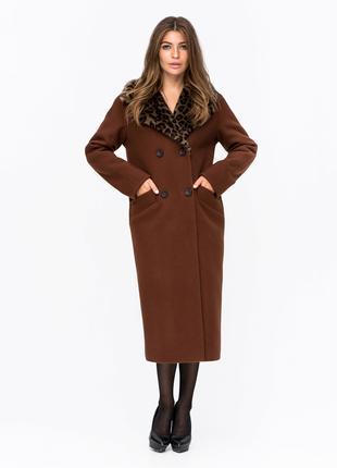 Скидка Шикарное зимнее двубортное пальто с леопардовым мехом кори