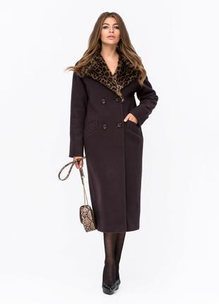 Скидка Шикарное зимнее двубортное пальто с леопардовым мехом