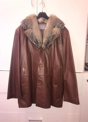 Мужская кожаная куртка турция мех волка xxxl 54 размер