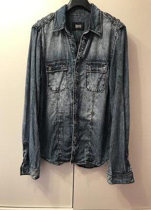 Dolce & gabbana мужская рубашка джинсовая xl размер