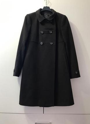 Zara woman пальто двубортное xs 24 размер цвет темный шоколад