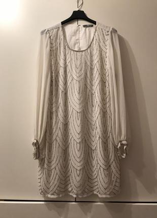 Нарядное платье туника вышивка стеклярус 46 р bhs