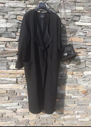 Акция!!! стильное прямое шерстяное пальто  с большими карманами