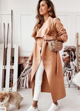 Стильное кашемировое длинное пальто женское осеннее на запах с...