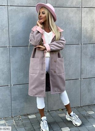 Молодежное модное кашемировое пальто женское осеннее на подкла...