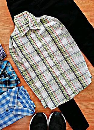 Детская классическая рубашка - сорочка в клетку для мальчика -...