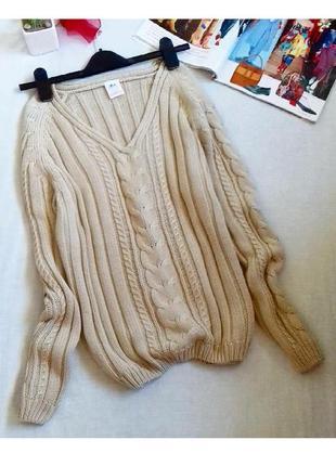 Классный свитер кофточка в косичку