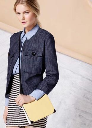 Брендовая джинсовая куртка пиджак жакет на молнии с карманами ...