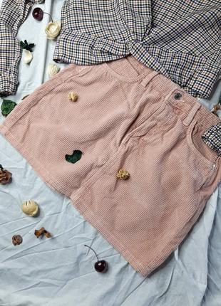 Вельветовая пудровая юбка bershka