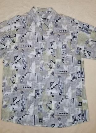 Легкая мужская тенниска рубашка с коротким рукавом
