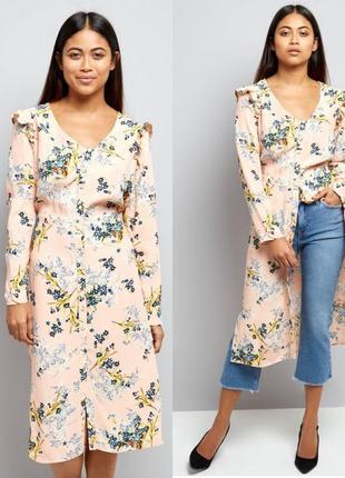 Платье рубашка в цветочный принт из вискозы с длинными рукавам...