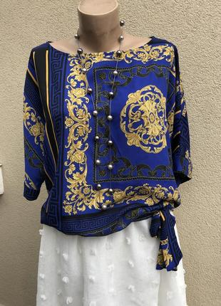 Блуза реглан,рубаха,бант по низу,принт в стиле versace,