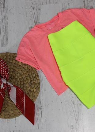 Бандажная юбка кислотного цвета