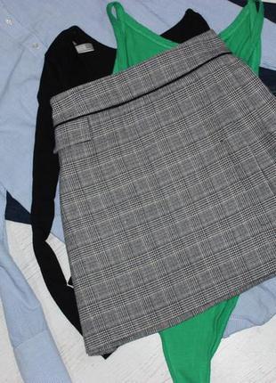 Юбка трапеция в клетку с подкладкой теплая
