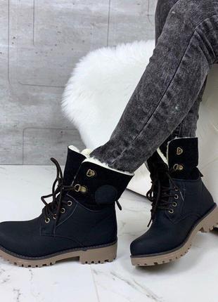 Высокие ботинки сапоги с мехом зимние теплые женские черные
