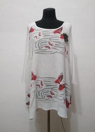 """Стильная содная итальянская блуза """"бабочки """" большого размера"""