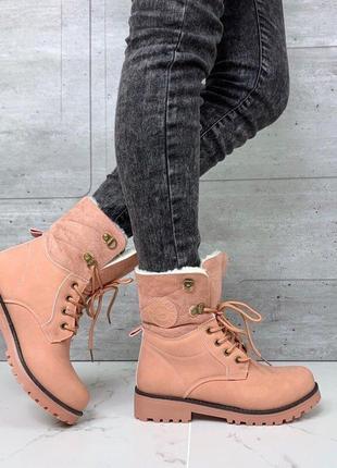 Высокие ботинки сапоги с мехом зимние теплые женские пудровые ...