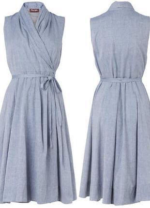 Хлопковое платье миди на запах с карманами 14/48-50 размера