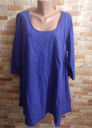 Яркая льняная туника блуза свободного кроя  20/54-56 размера