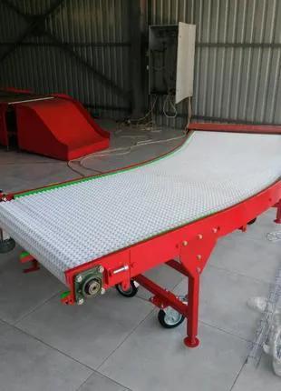 Поворотный конвейер с модульной лентой