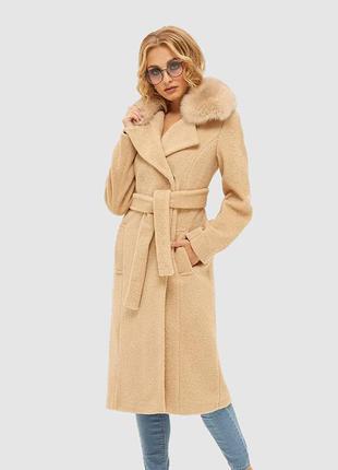 Пальто из альпака зимнее теплое с меховым воротником из песца ...