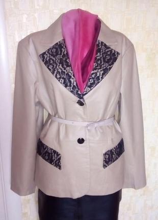 Vip!стильная  100%  кожаная куртка украшена гипюром/куртка/ ка...