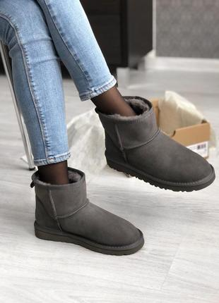💜ugg short grey💜угги женские зимние серые с мехом