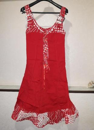 Женский летний красный сарафан платье